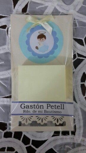 Bautismo. Souvenir mini agendas para la heladera