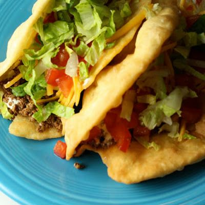 Ground beef chalupa (Mexican stuffed toasted flat bread ...