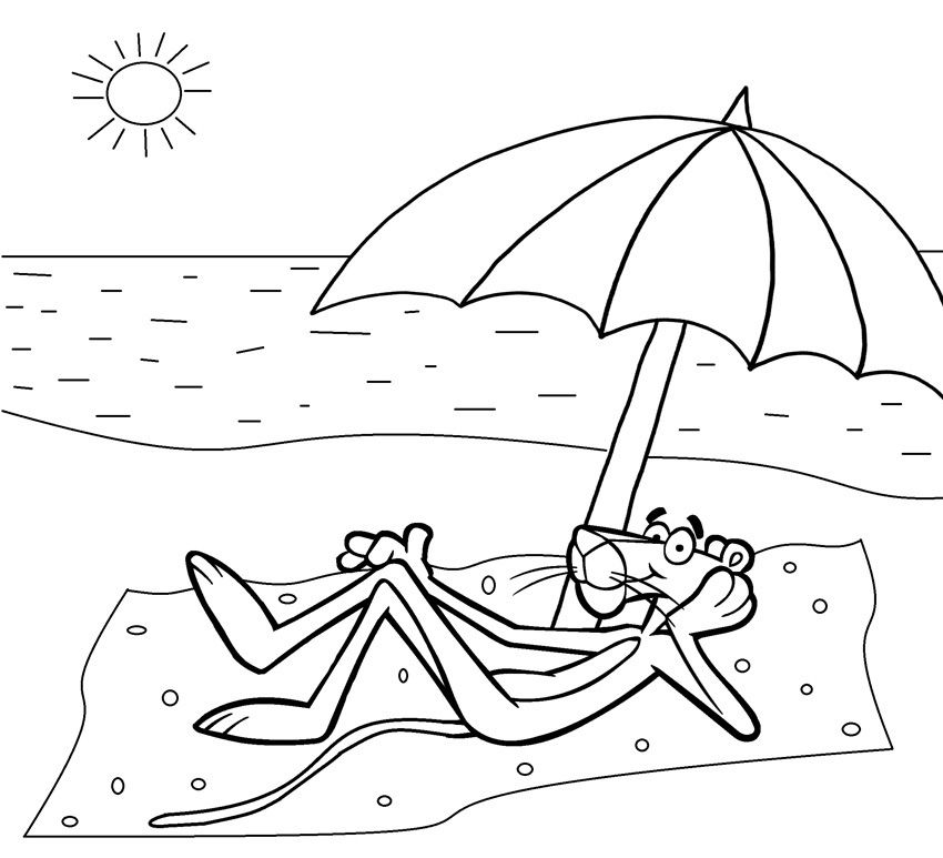 Pink Panther Thinking Coloring Sketch   Free Coloring Pages ...