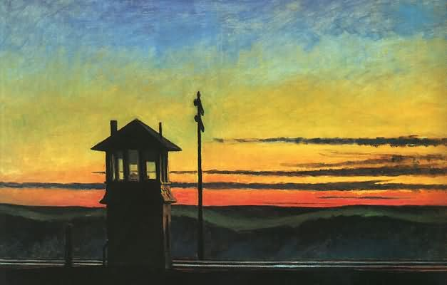 Railroad Sunset by Edward Hopper...This American classic is in the hallway of our Graybar Building space at www.nycofficesuites.com  #art