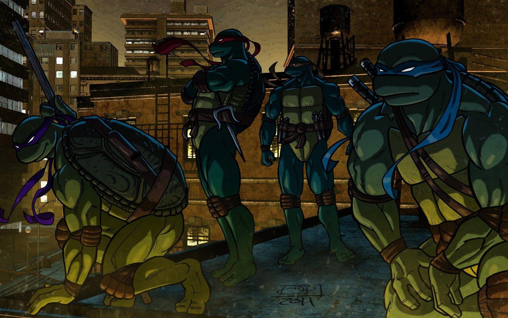Cartoon Teenage Mutant Ninja Turtles Leonardo Raphael Michelangelo Donatello Hd Wallpaper 忍者タートルズ 忍者 タートルズ