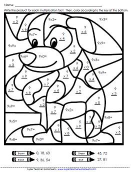 Multiplication Worksheets Basic Math Coloring Worksheets Math
