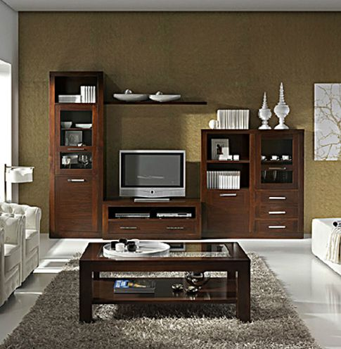 Muebles para salon comedor madera nogal pinterest tvs crockery cabinet and entertainment wall - Nogal americano muebles ...