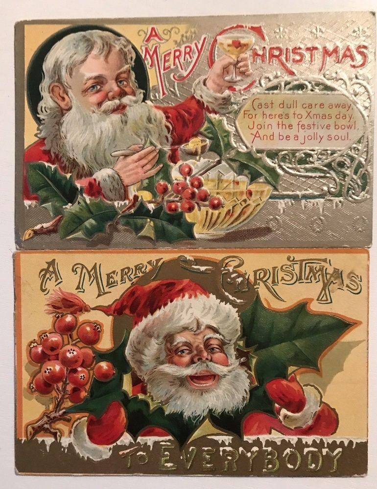 Nice Lot Of 2 Santa Claus Vintage Antique Embossed Christmas Postcards K743 Christmas Vintage Holiday Cards Christmas Postcard Old Time Christmas