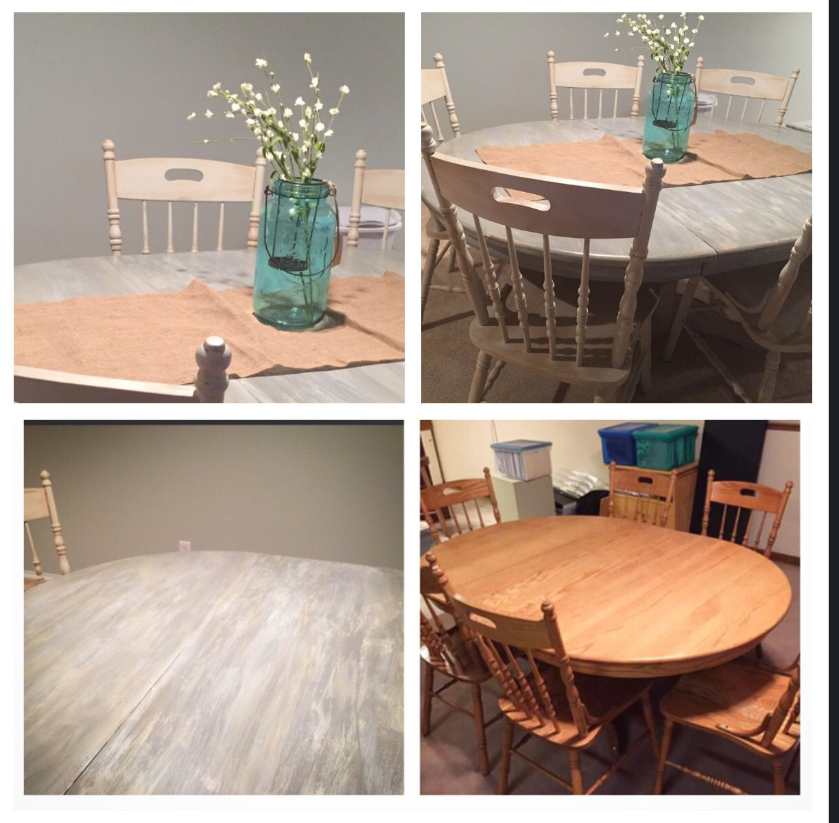 75.00 solid oak table with 6 chairs makeover layered dark grey, blue and grey beige wash lots of buffing .. This took forever and the chairs are just the grey beige with dark wax (I dread painting anything with spindles .. We have done spray paint and I recommend that so much easier)