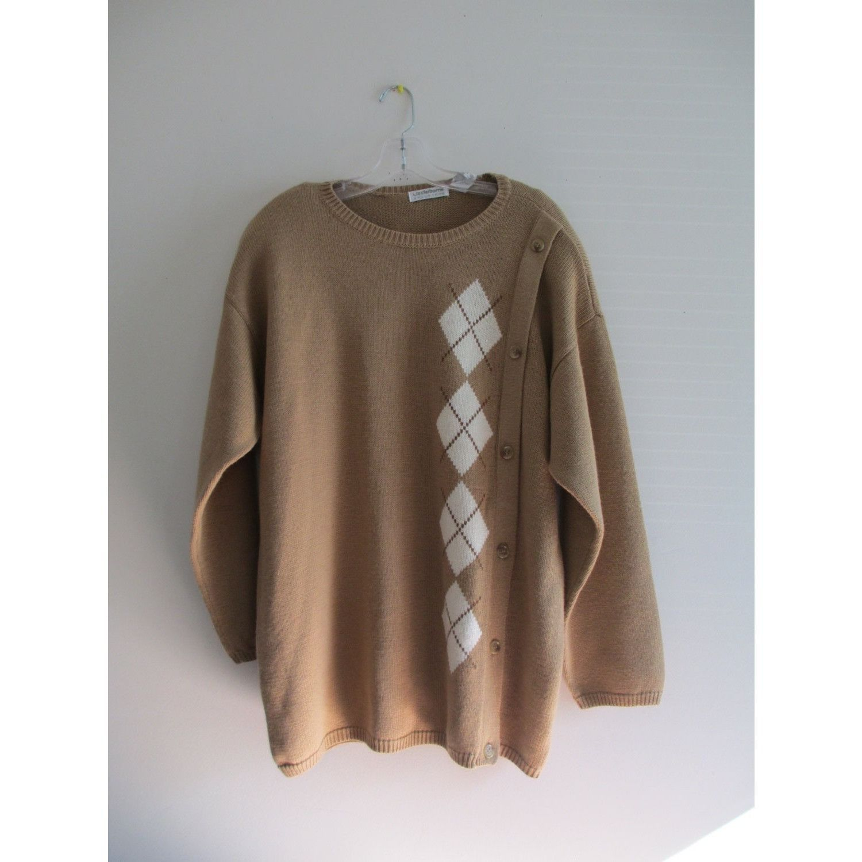 Vintage Liz Claiborne Tan Ivory Argyle Print Button Stretch Knit ...
