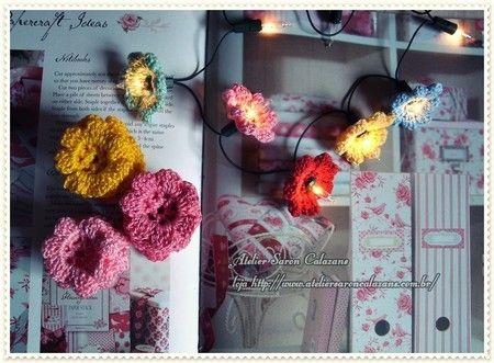 Flores de crochê para luzes piscas piscas (50 unid.) - Atelier Saron Calazans