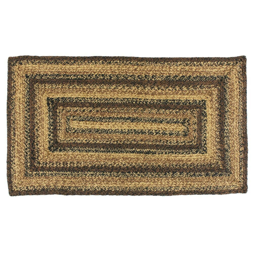 Jute Braided Area Rug 8x10 Rectangular Primitive Country Black Brown And Tan Unbranded Country Braided Area Rugs Braided Jute Rug Braided Rugs