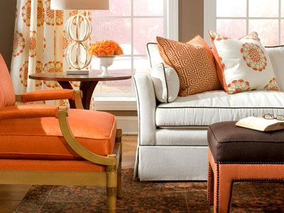 Love this white brown piping sofa white brown orange living room home decor must haves - Brown and orange living room ...