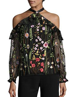 d2be8c7da1b63 Alexis - Kylie Embroidered Cold-Shoulder Top