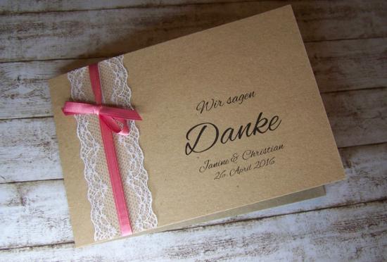 Dankeskarte Hochzeit Kraft Vintage Mit Spitze