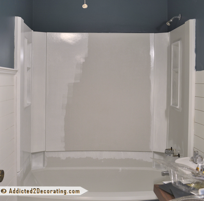 bathroom makeover day 11: how to paint a bathtub | tub surround