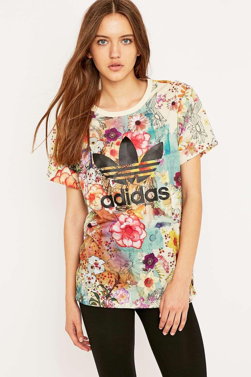 Adidas Originals X Farm Floral Trefoil T Shirt Urban Outfitters Funky Fashion Fashion Adidas Floral [ 1463 x 975 Pixel ]