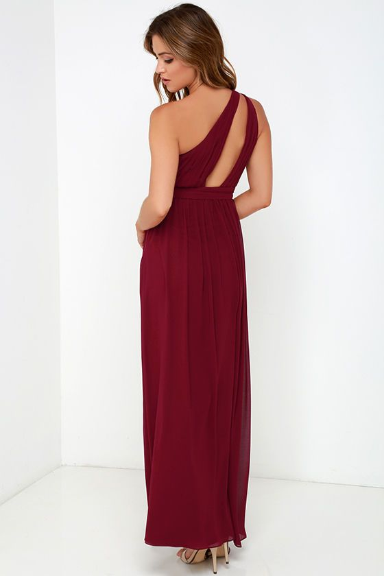 3a85a0d6436 Painted Words Wine Red One Shoulder Maxi Dress | Ring | Bridesmaid ...