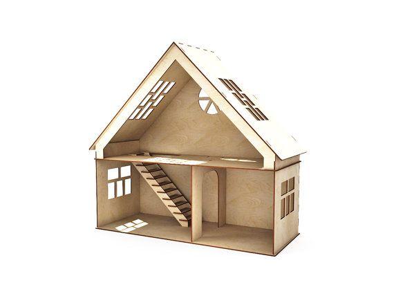 Dollhouse 1st Floor And Attic Doll House Dollhouse Wood Dollhouse Dollhouse Kit Modern Dollhouse Wooden Doll House 1 12 Scale Wooden Dollhouse Modern Dollhouse Dollhouse Kits