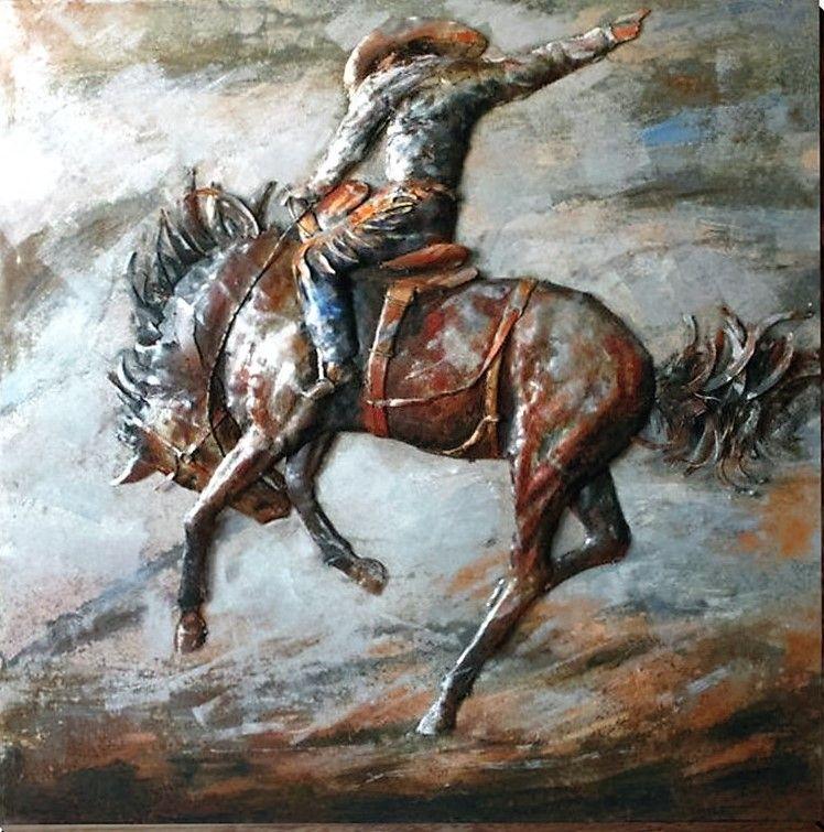 3D Bronc Rider Western Wall Art