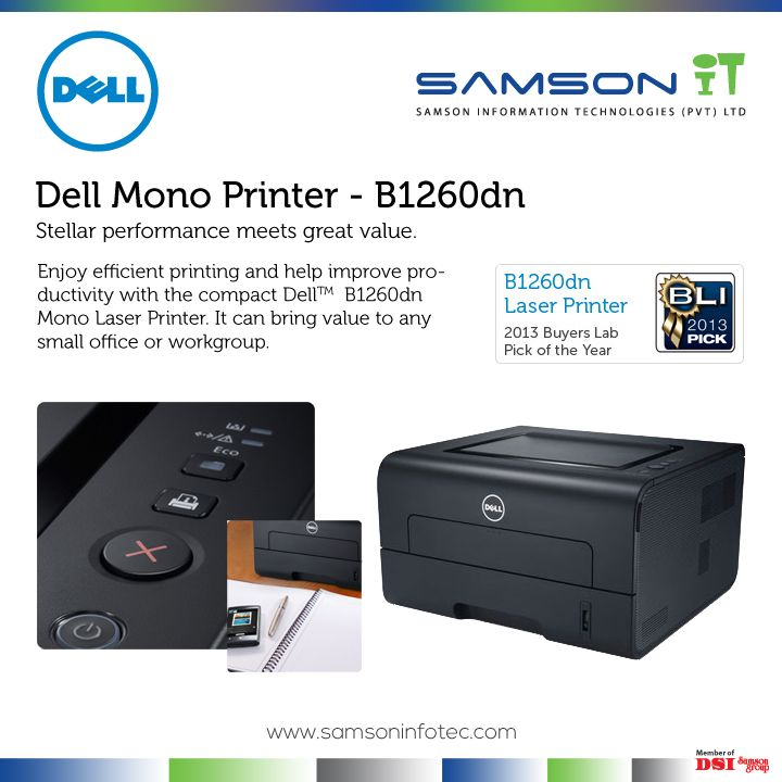 Now you can bring network connectivity and essential productivity features to your small office or workgroup with the Dell B1260dn.