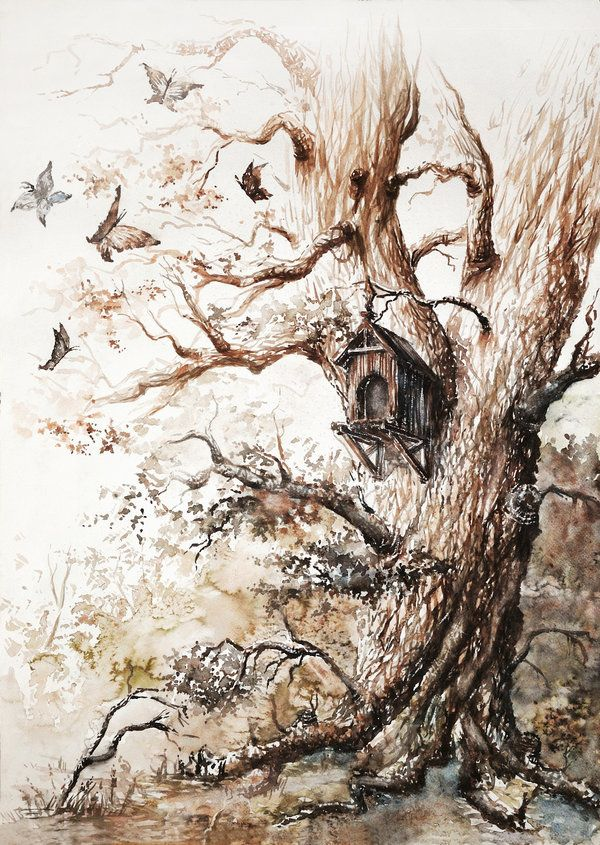 "Watercolor - ""Butterflies Tree"" by Haunted -Tower  [previous pinner's caption]"