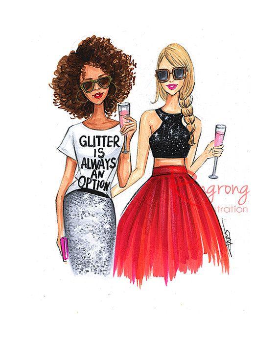 fashion sketch glitter inspired fashion art fashion illustration chic wall art  fashion print