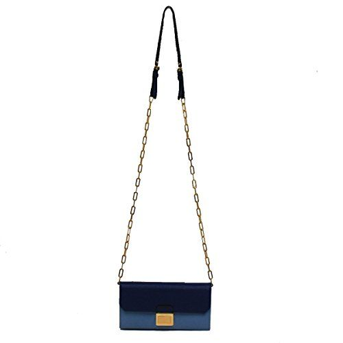 Miu Miu by Prada Color Block Blue Leather Women's Chain Shoulder Bag Clutch Wallet
