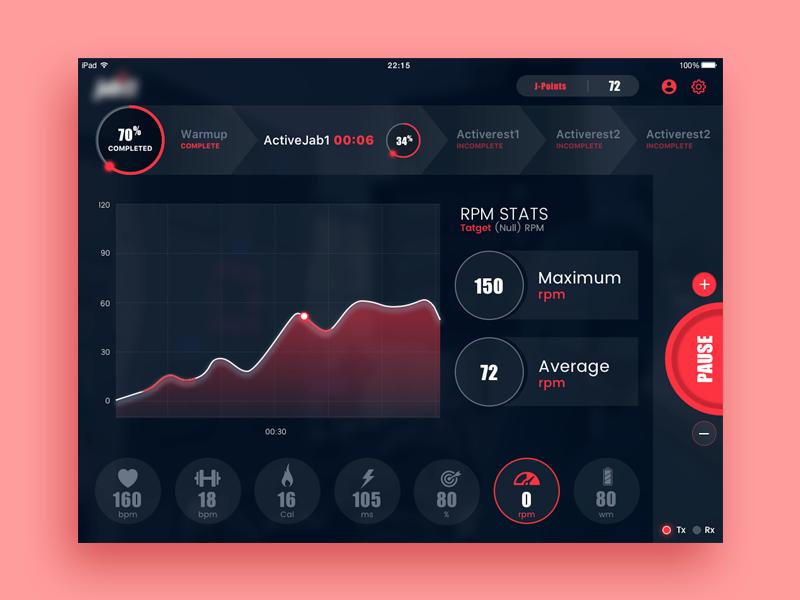 Fitness Tracker ipad embedded app UI / Infographics