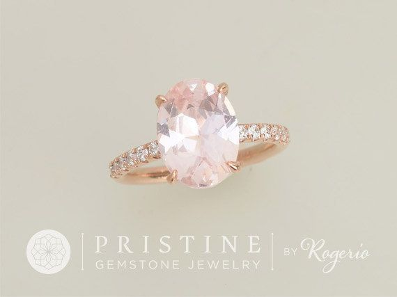 RESERVED Blush Pink Peach Sapphire Over 3cts Engagement Ring And Wedding Band Rose Gold Diamond Accented Bridal Set