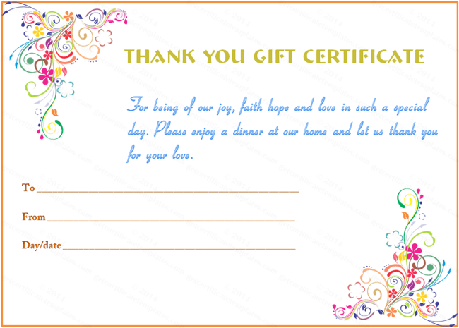 Special Day Thank You Gift Certificate Template  Beautiful