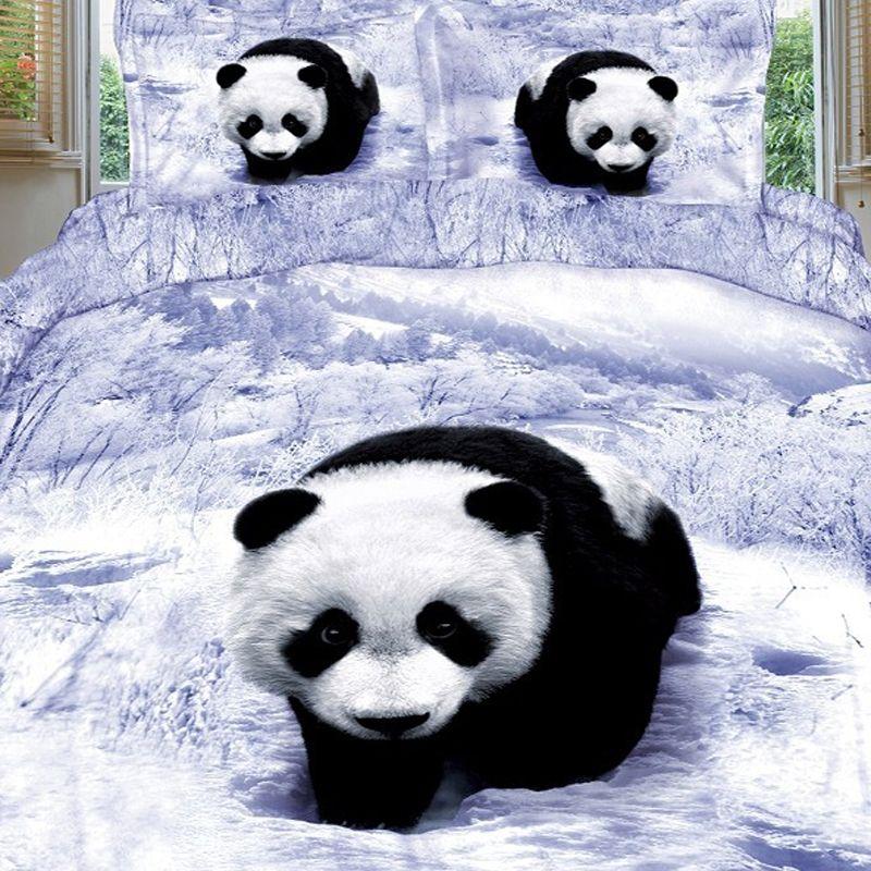Black White And Grey 3d Panda Print Wild Animal Jungle Safari Themed Snow Scene Kids Teens And Boys 100 Cotton Twin Animal Print Bedding Panda Bear Bear Bed
