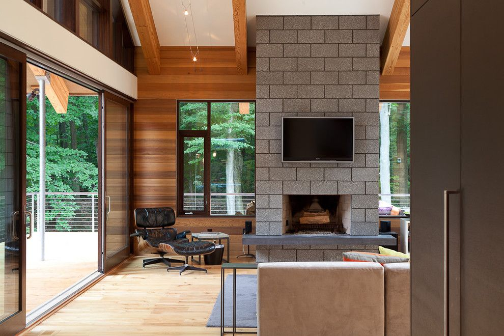 Delightful Cinder Block Living Room Contemporary Design Ideas With Chair Fireplace Large Widow Lounge Ch Cinder Block House Fireplace Design Cinder Block Walls