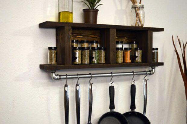Modern Industrial Kitchen Shelf Pot Rack Wall Spice Rack Utensil