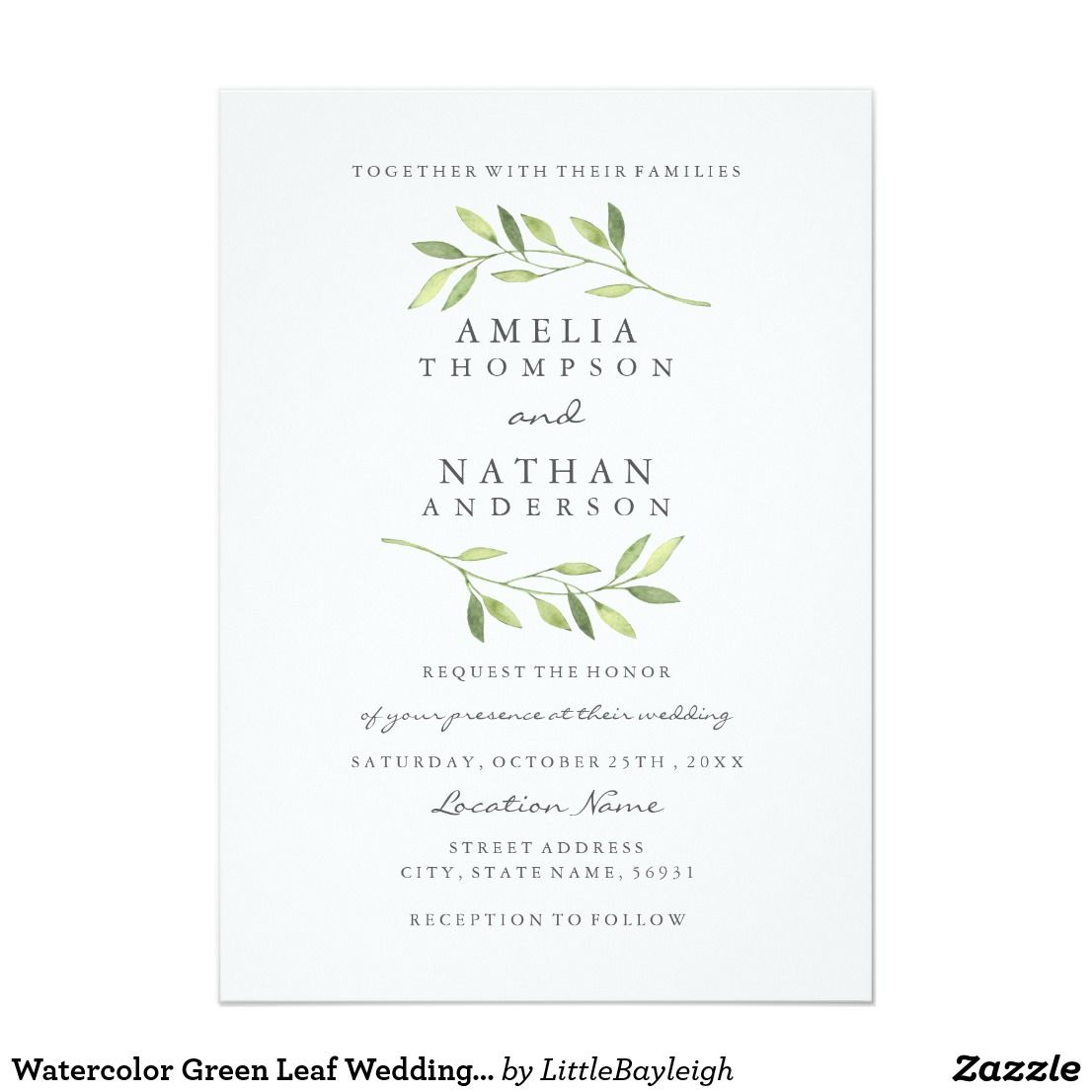 Watercolor Green Leaf Wedding Invitation | Pinterest | Weddings and ...
