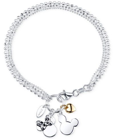 a10472b5aa44a Disney Two-Tone Mickey and Minnie Mouse Charm Bracelet in Sterling ...