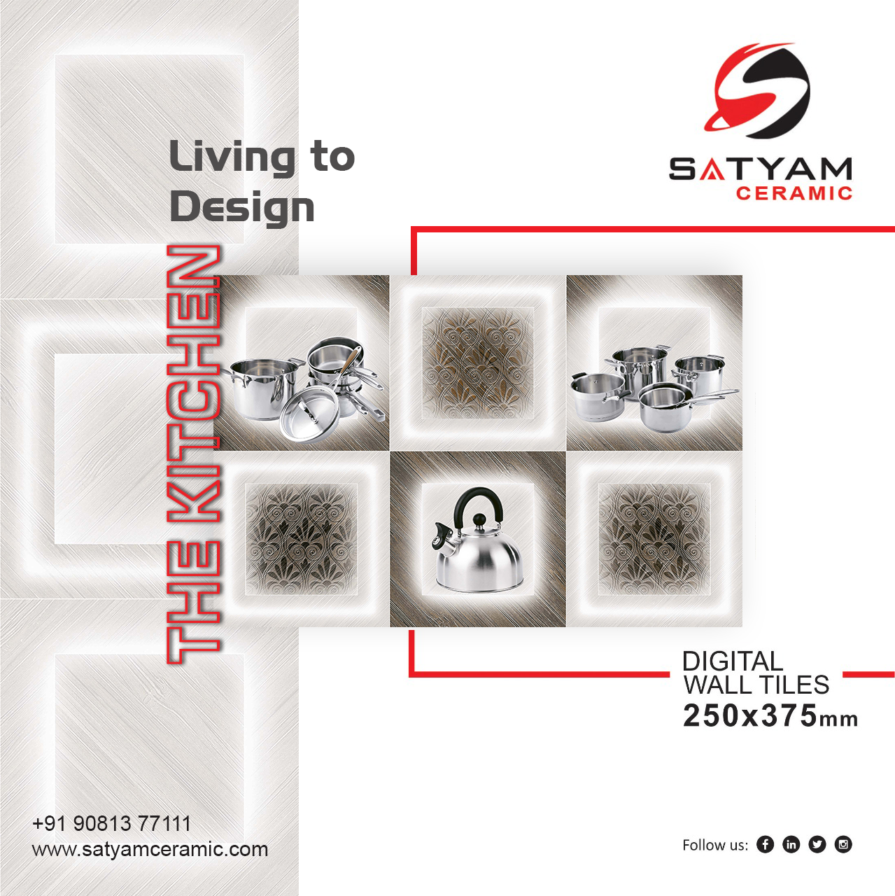 Living To Design The Kitchen Digital Wall Tiles 250x375 Mm Satyamceramic Digitalwalltiles Walltiles Tiles Cera Ceramic Design Wall Tiles Ceramics