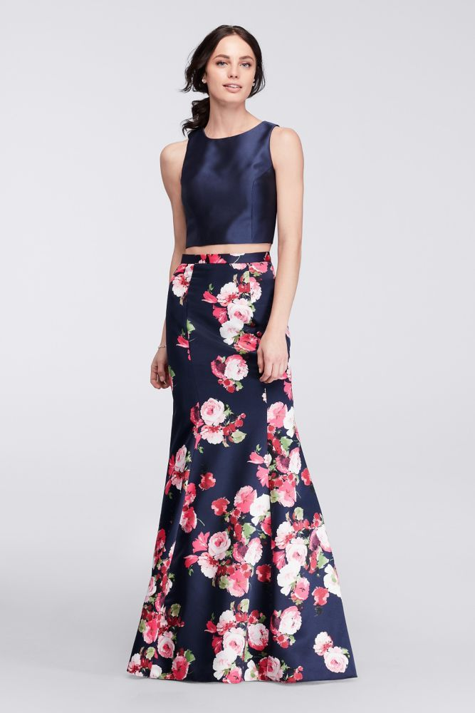 a1fbf9ad0525 Two-Piece Mermaid Gown with Floral Satin Skirt - Navy (Blue), 10 ...