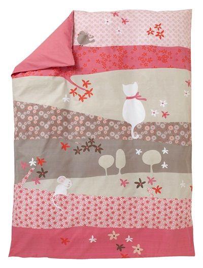 Housse de couette fille tiny cat rose fonce uni avec decor - Housse de couette bebe fille ...