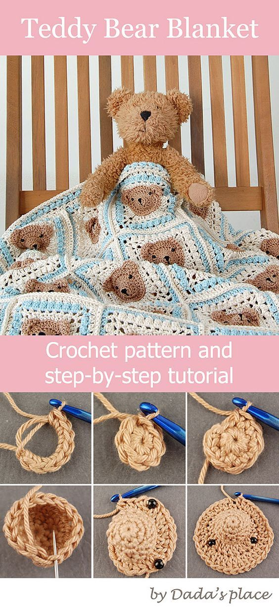 Teddy bear baby blanket pattern and step-by-step tutorial suitable for beginners Teddy bear granny square, crochet blanket pattern, baby crochet, crochet for beginners #babycrochet #teddybearblanket #crochetblanket #crochetpattern #grannysquares