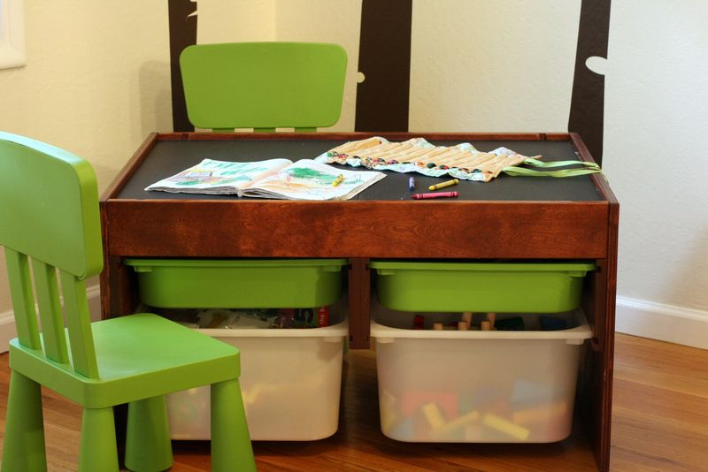 DIY convertible kids activity table. Magnetic chalkboard, easels ...