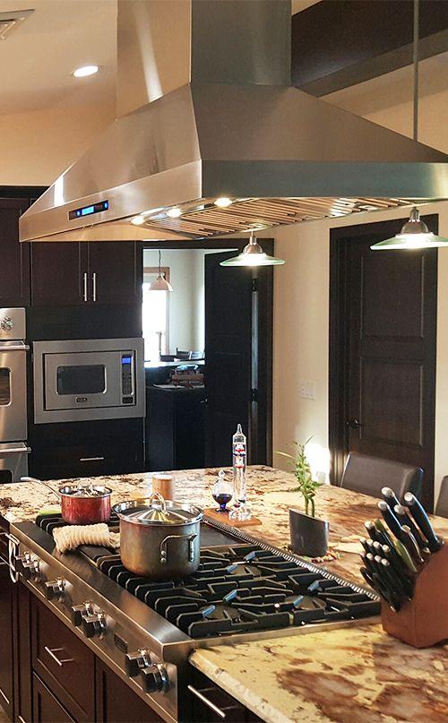 Beautiful Customer Kitchen Featuring The Proline Range Hoods Pros Island Range Hood Kitchen Island With Cooktop Kitchen Ventilation Kitchen Island Range Hood