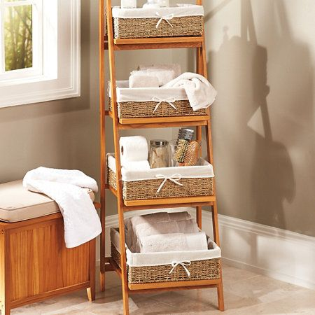 Teak Bathroom Ladder Shelf With Baskets Teak Bathroom Bathroom Ladder Shelf Bathroom Ladder