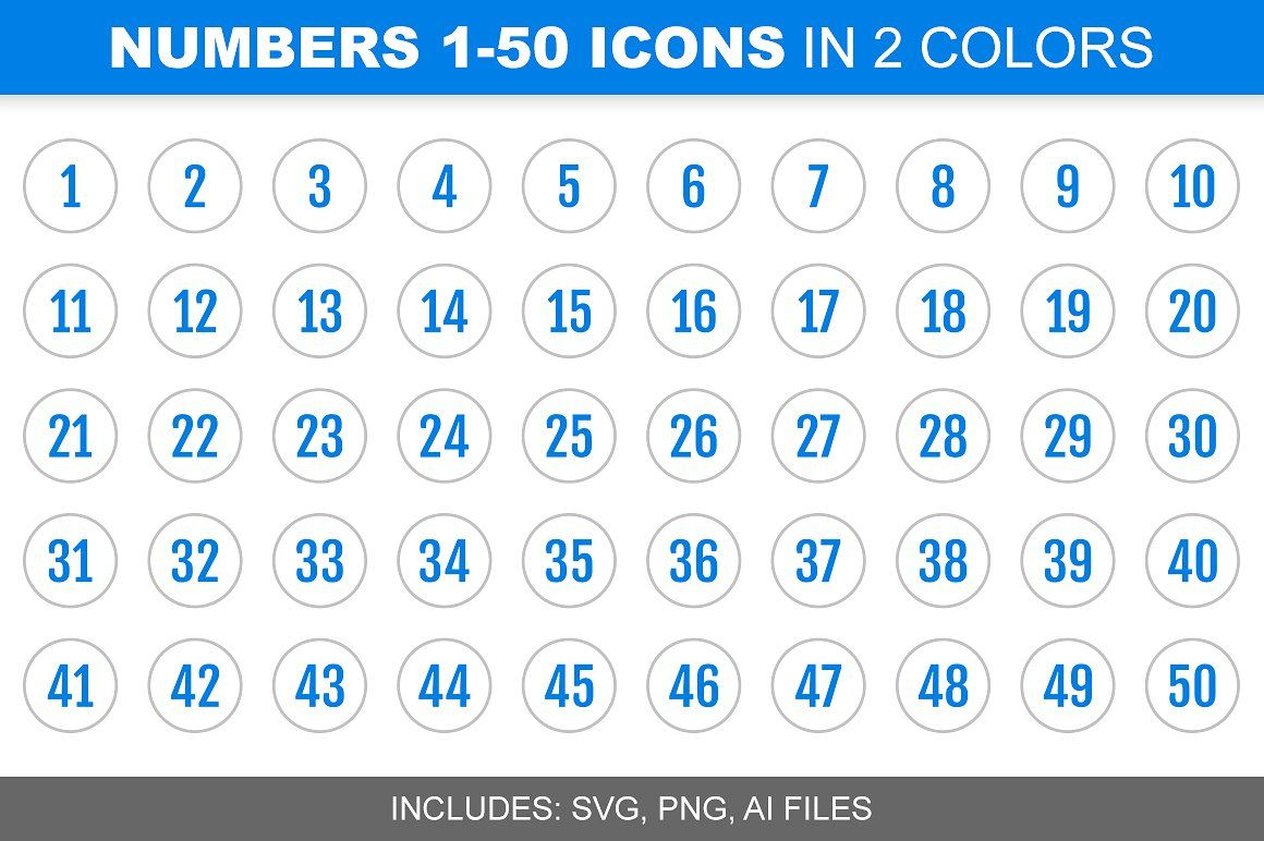Blue Number Icons 1-50, in 2 Colors by Alfredoh on ...