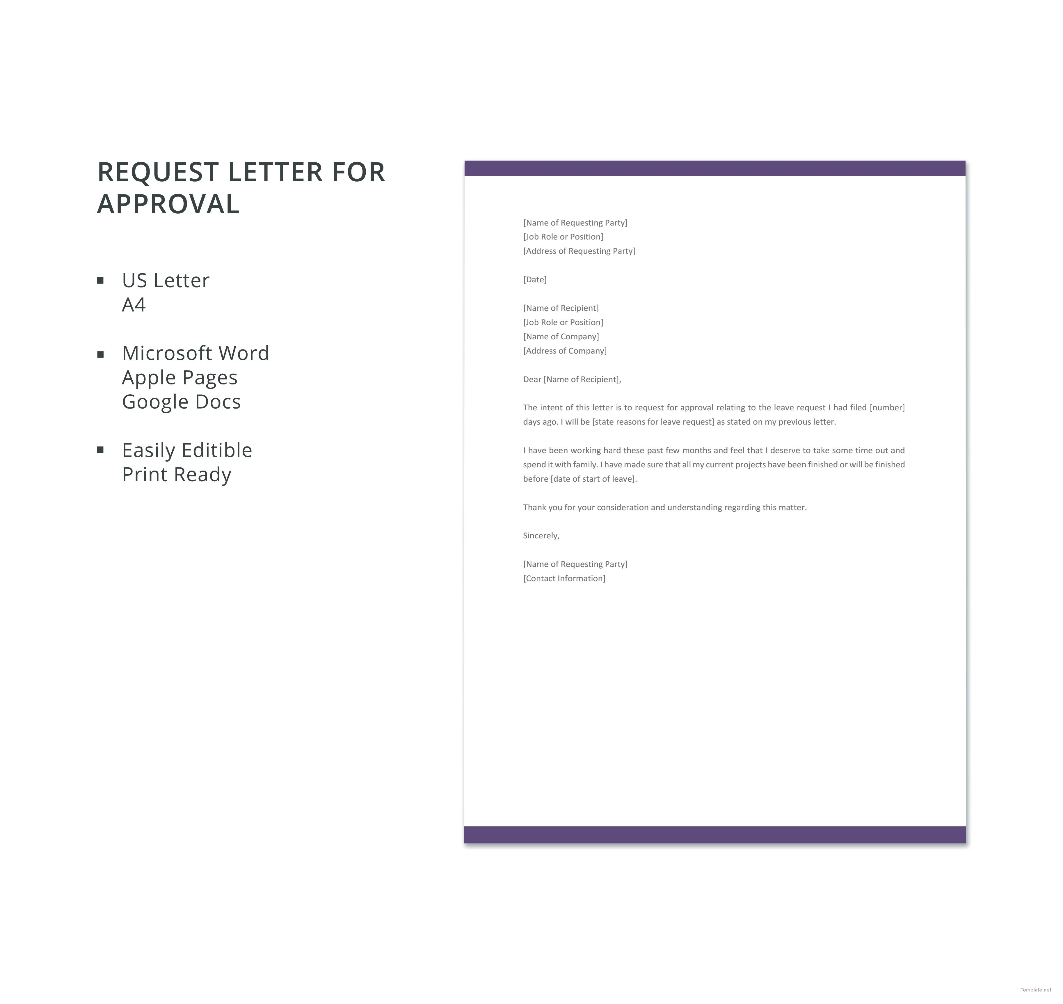 Free Request Letter for Approval Lettering, Templates, Words