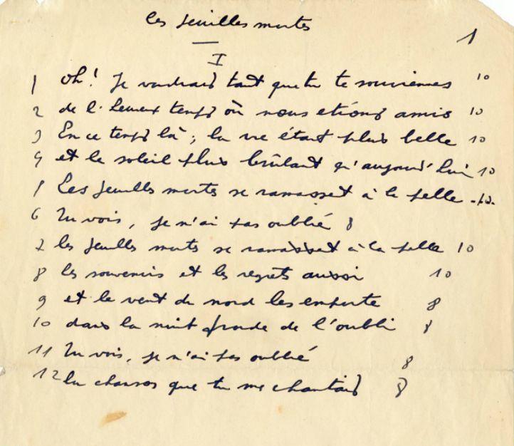 Les Feuilles Mortes Manuscrit De Jacques Prévert Souvenirs