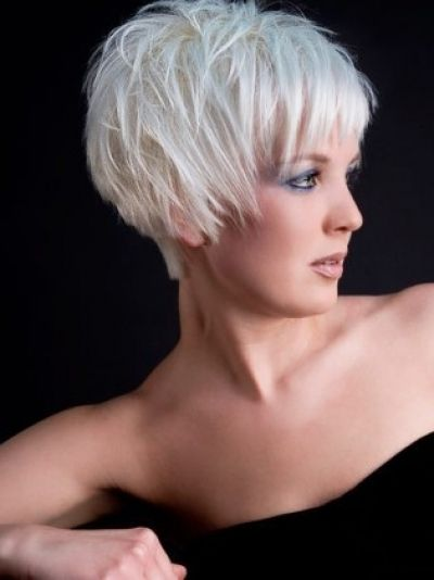 Short Messy Bob Hairstyle With White Colouring Hair Dos