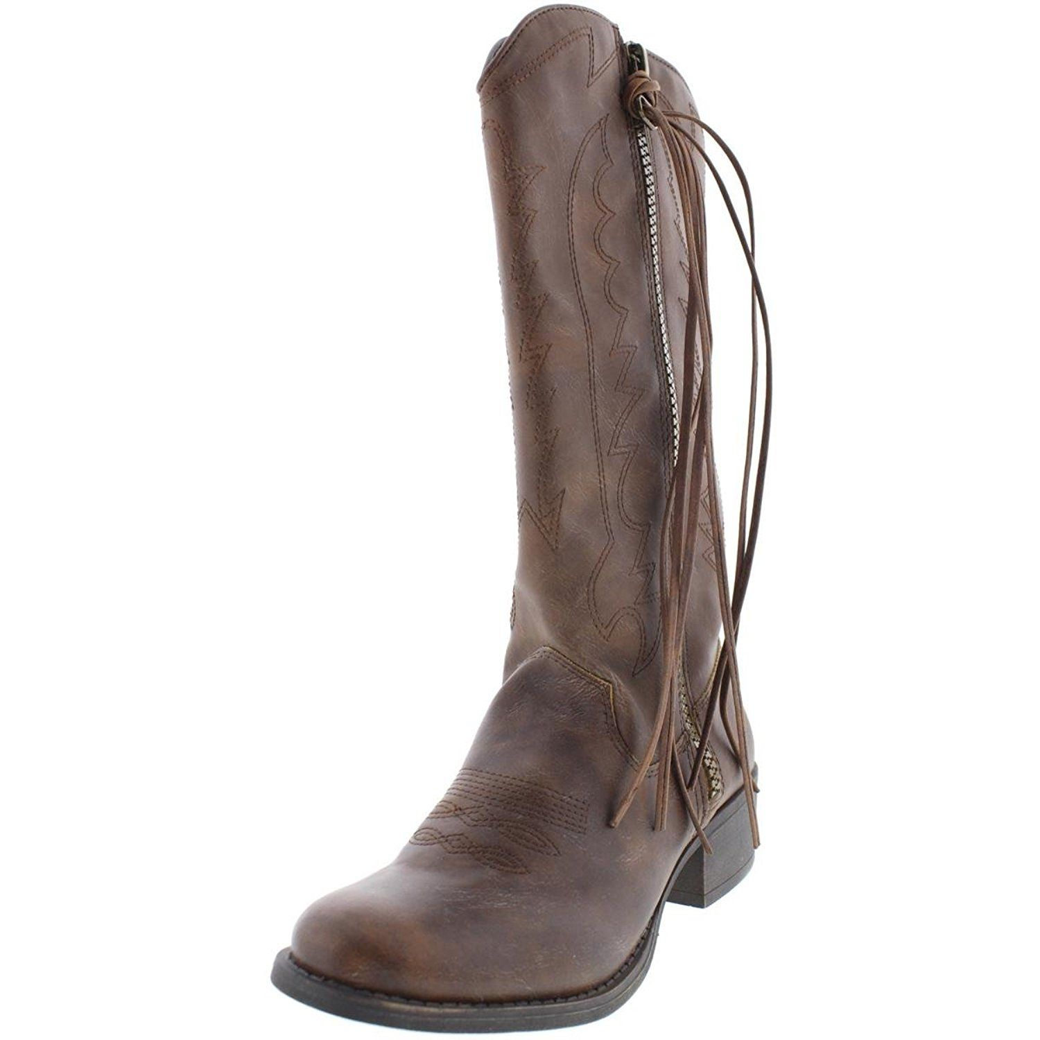 Madden Girl Womens Durantt Faux Leather Tassel Cowboy, Western Boots * For more information, visit image link.