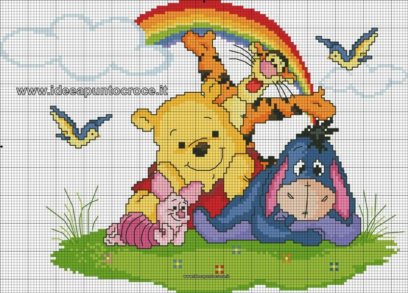 Schemi winnie the pooh idee a punto croce kit punto for Ricami disney punto croce