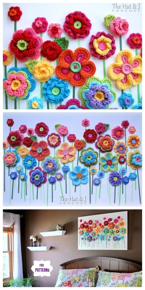 DIY Crochet Button Flower Blossom Wall Art #crochetdiy