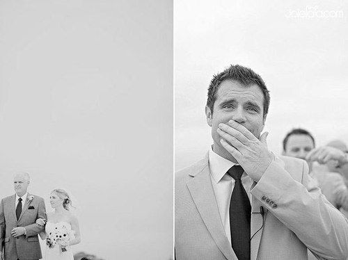 The best photos: the groom's reaction to seeing the bride in her dress for the first time :')