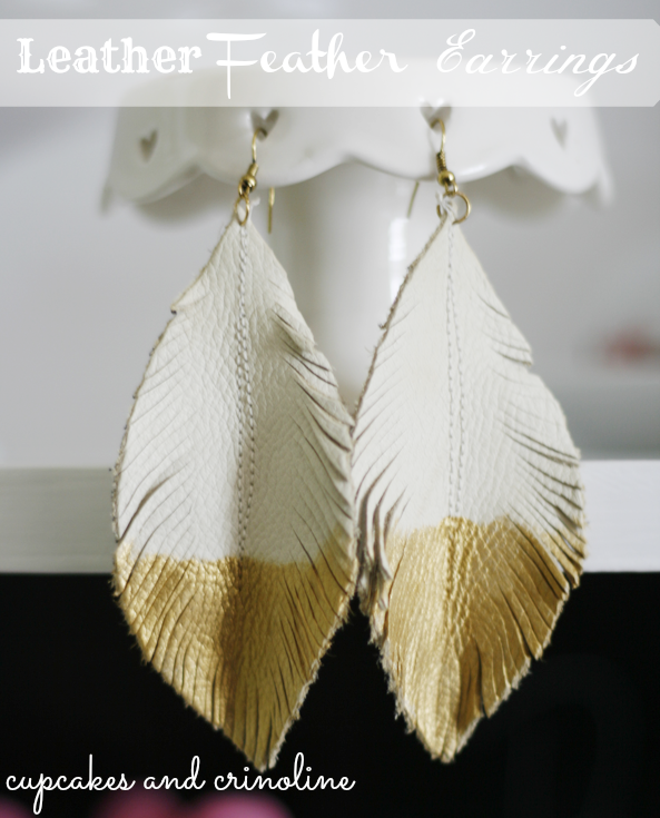 Make Feather Earrings from Leather Scraps
