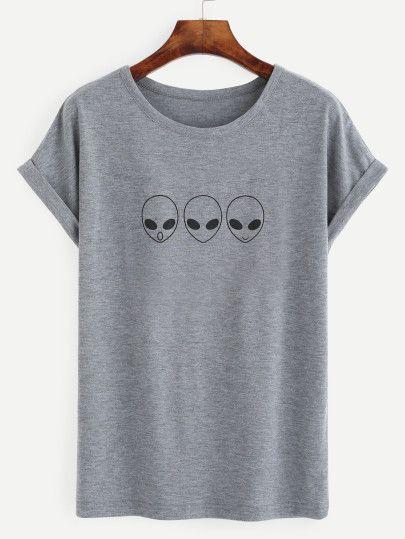 e369d44726c9a Camiseta estampado extraterrestres - gris