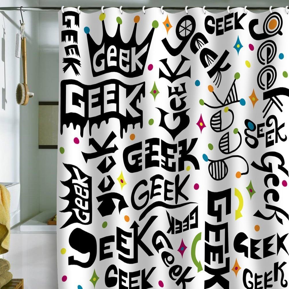 Geek Words Shower Curtain Geek Decor Absolutely Love Random Pinterest What Kind Of In